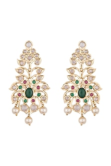 Gold plated faux diamond and emerald earrings by Aster