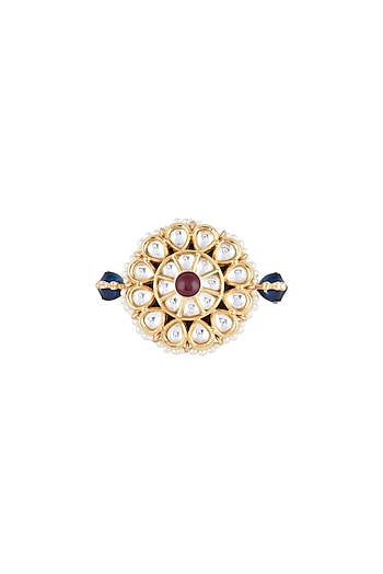 Yellow Rhodium Plated Blue & Red Two Finger Ring by Aster