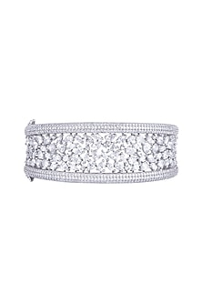 White Rhodium Finish Faux Diamond Openable Kada Bracelet by Aster
