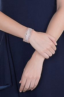 Rose Gold Finish Faux Diamond Openable Kada Bracelet by Aster