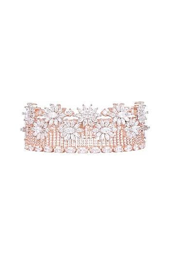 Rose Gold Finish Faux Diamond Kada Bracelet by Aster