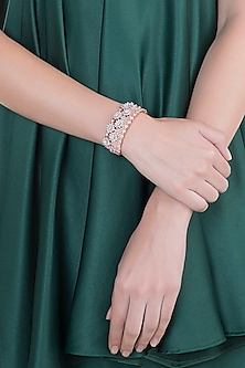 Rose Gold Finish Faux Diamond Kada Bracelet by Aster