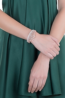 Rose Gold Finish Faux Diamond Openable Bracelet by Aster