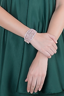 Rose Gold Finish Faux Diamond & Red Stone Openable Kada Bracelet by Aster