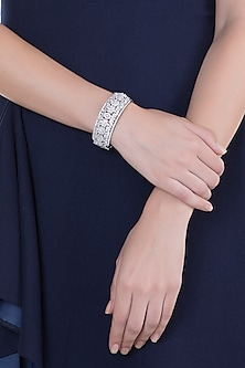 White Rhodium Finish Faux Diamond Openable Bracelet by Aster