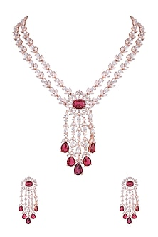 Rose Gold Finish Faux Diamond & Red Stone Necklace Set by Aster