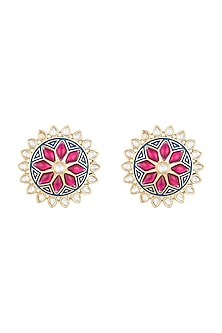 Yellow Rhodium Plated Blue Enamelled Kundan Stud Earrings by Aster