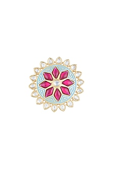 Yellow Rhodium Plated Turquoise Blue Enamelled Kundan Ring by Aster