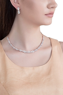 Rose Gold Plated Faux Diamond Necklace Set by Aster