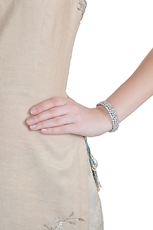 White Rhodium Plated Faux Diamond Bangle by Aster