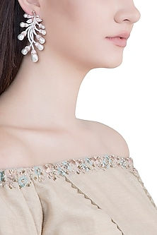 Rose Gold Plated Faux Diamond & Pearl Earrings by Aster