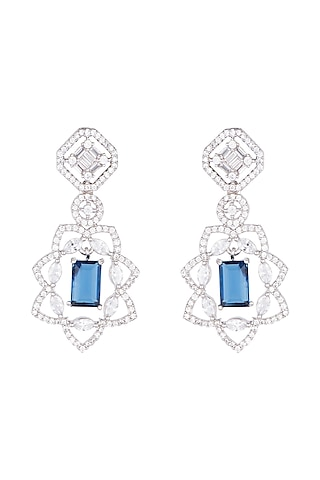 White Rhodium Plated Faux Diamond & Blue Stone Earrings by Aster