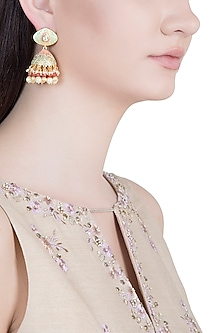 Gold Plated Kundan, Pearl & Red Bead Green Jhumka Earrings by Aster