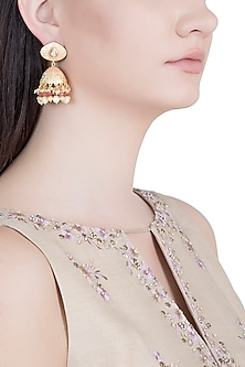 Yellow Rhodium Plated Kundan, Pearl & Red Bead Jhumka Earrings by Aster