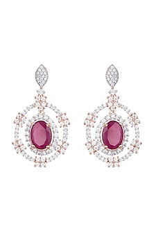 Rose Gold Plated Faux Diamond & Red Stone Earrings by Aster