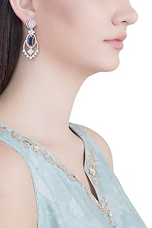 Rose Gold Plated Faux Diamond & Blue Stone Earrings by Aster