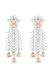 White Rhodium Plated Faux Diamond & Yellow Stone Earrings by Aster