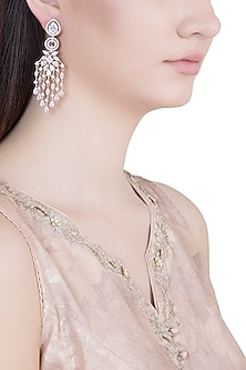 Rose Gold Plated Faux Diamond Chandelier Earrings by Aster