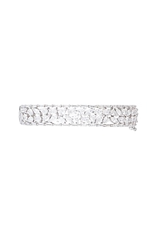 White Rhodium Plated Faux Diamond Openable Kada Bracelet by Aster