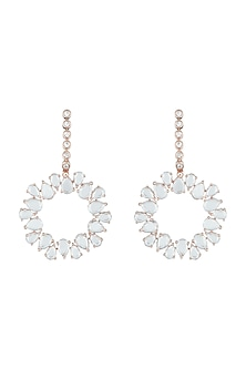 Rose Gold Plated Faux Rose Cut Diamond Long Earrings by Aster