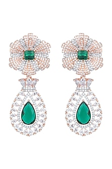 Rose Gold & White Rhodium Plated Diamond Earrings by Aster