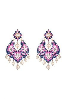 Gold Rhodium Finish Blue Meenakari Earrings by Aster