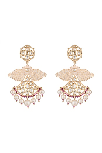 Gold Rhodium Finish Enameled Kunda & Faux Pearl Earrings by Aster