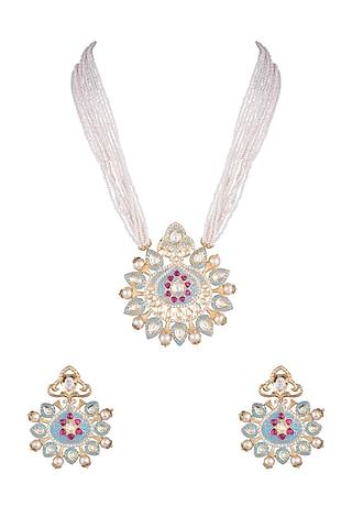 Gold Rhodium Finish Blue Enameled Kundan Necklace Set by Aster