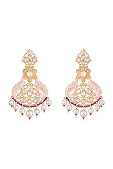 Gold Finish Pink Enameled Kundan & Pearl Earrings by Aster