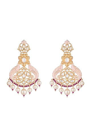 Gold Finish Pink Enameled Kundan & Pearl Earrings by Aster