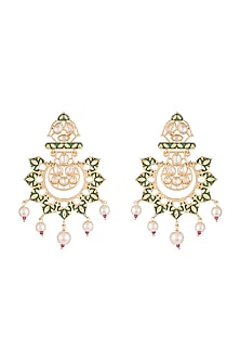 Gold Rhodium Finish Green Enameled Kundan & Pearl Earrings by Aster