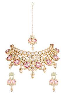 Gold Rhodium Finish Meenakari Choker Necklace Set With Maang Tikka by Aster