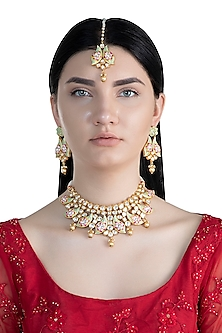 Gold Rhodium Finish Meenakari Choker Necklace Set With Maang Tikka by Aster