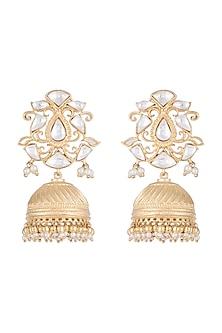 Gold Finish Kundan & Faux Pearl Jhumki Earrings by Aster