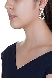 Rose Gold Finish Green Stone & Faux Diamond Long Earrings by Aster