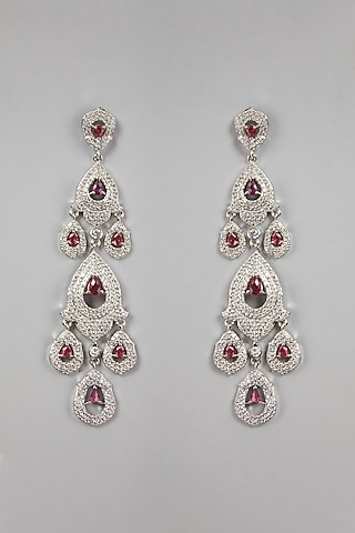 White Finish Red Stones Earrings by Aster