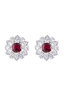 White Finish Faux Diamond & Red Stones Stud Earrings by Aster
