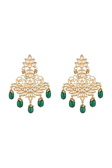 Gold Finish Kundan & Green Stones Drop Earrings by Aster