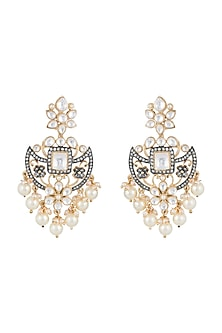 Gold Finish Kundan, Faux Pearls & Diamond Earrings by Aster