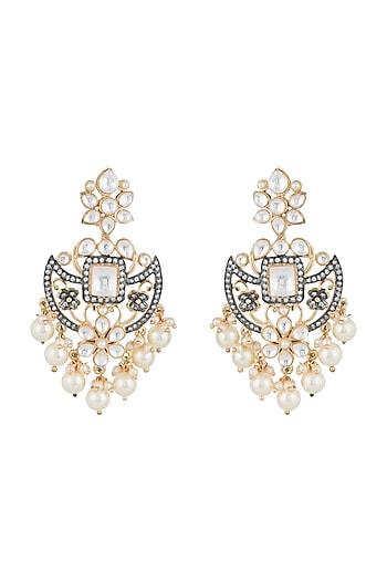 Gold Finish Kundan, Faux Pearls & Diamond Earrings by Aster