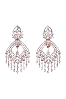 Rose Gold Finish Faux Diamond Dangler Earrings by Aster
