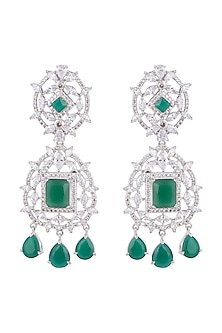 White Finish Faux Diamond & Green Stone Dangler Earrings by Aster