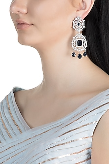 White Finish Faux Diamond & Blue Stone Earrings by Aster