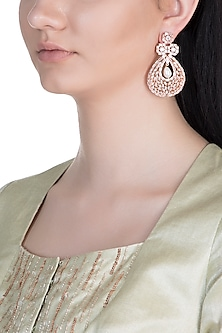 Rose Gold Finish Faux Diamond & Pearl Earrings by Aster