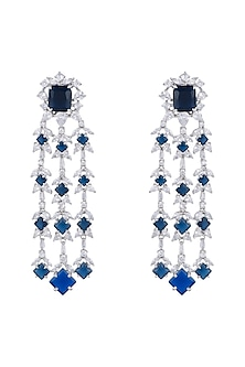 White Finish Daux Diamonds & Blue Stones Dangler Earrings by Aster