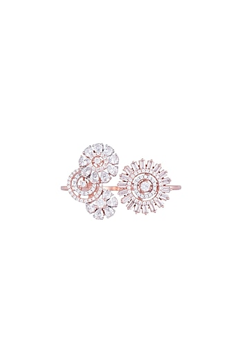 Rose Gold Finish Faux Diamond Ring by Aster