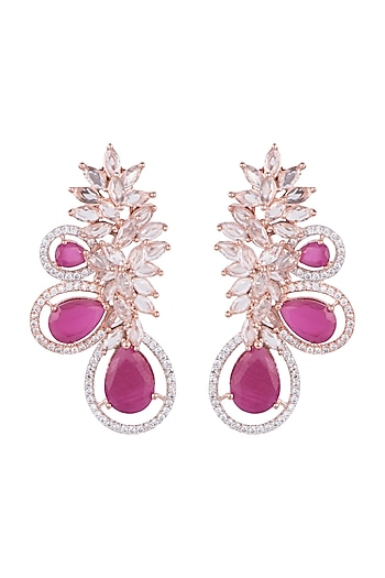 Rose Gold Finish Red Stone & Faux Diamond Earrings by Aster