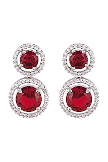 White FInish Faux Diamond & Red Stones Earrings by Aster