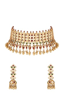 Gold Finish Kundan, Red & Green Stones Choker Necklace Set by Aster