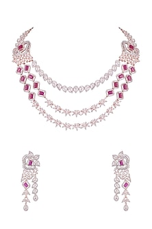 Rose Gold Finish Faux Diamond & Red Stones Necklace Set by Aster